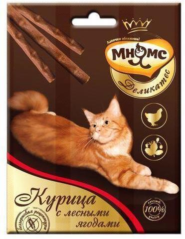 Мнямс Деликатес лакомые палочки для кошек с курицей и лесными ягодами