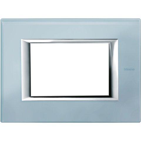 Рамка 1 пост, прямоугольная форма. СТЕКЛО. Цвет Голубое стекло. Итальянский стандарт, 3 модуля. Bticino AXOLUTE. HA4803VZS