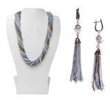 Комплект украшений серо-синий (длинные серьги из бисера, бусы из бисера 36 нитей)