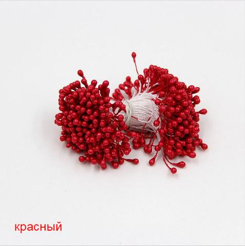 Тычинки для цветов двухсторонние, набор 10 шт., красный