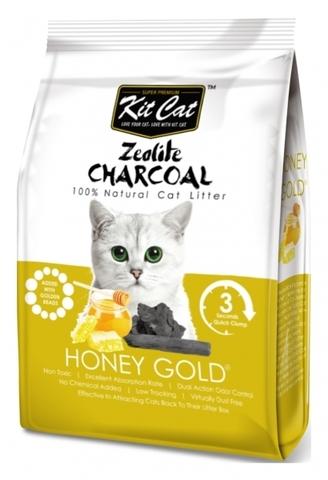 Kit Cat Zeolite Charcoal Honey Gold цеолитовый комкующийся наполнитель медовый с золотыми крупинками - 4 кг 4 кг