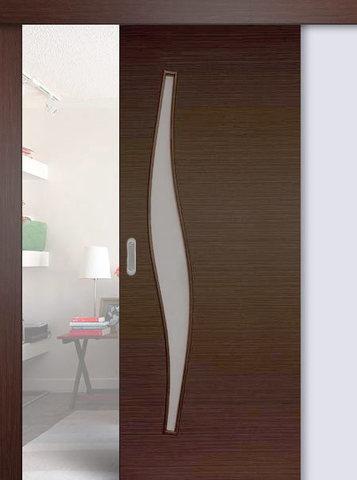 Дверь раздвижная Сибирь Профиль Волна (С-10), цвет венге 3D, остекленная