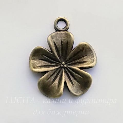 """Подвеска """"Цветок"""" (цвет - античная бронза) 23х20 мм ()"""