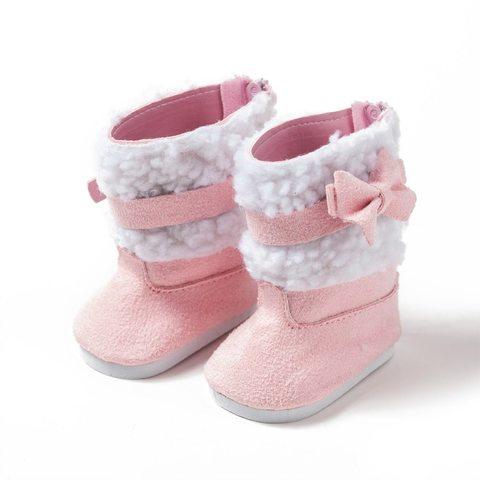 Обувь для куклы. Ботинки с декоративными вставками - розовые