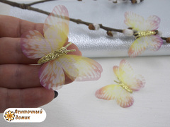 Бабочки шифоновые с золотым тельцем желто-розовые №1