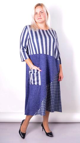 Коллаж. Комбинированное платье плюс сайз. Синий.