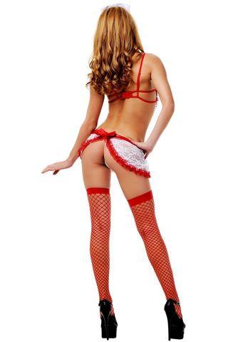 Костюм медсестры состоит из кружевного платья с красной отделкой, головного убора и стетоскопа фото