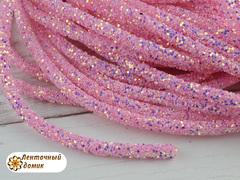 Шнур трубчатый глиттерный розовый 40 см