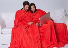 Плед с рукавами для двоих Sleepy Double красный