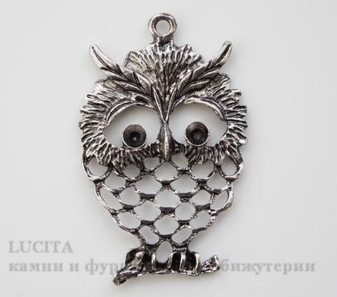 "Подвеска ""Сова"" (цвет - античное серебро) 58х39 мм"