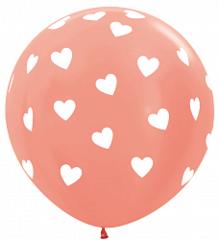 Шар (36''/91 см) Классические сердца, Розовое золото (568), металлик, 5 ст.