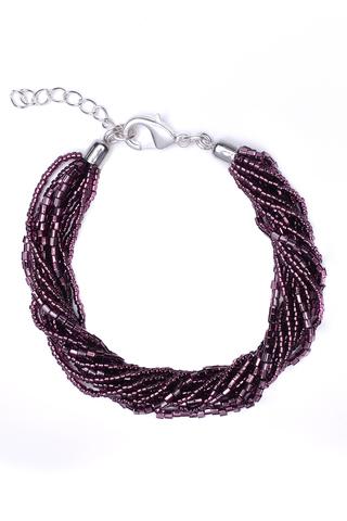 Бисерный браслет 12 нитей фиолетовый