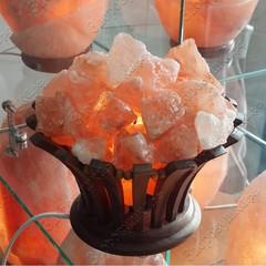 Солевая лампа деревянная ваза с кристаллами