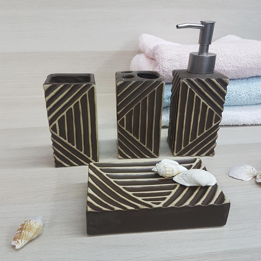 Ванный набор, керамика, коричневый.