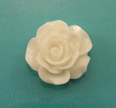 """Кабошон акриловый """"Роза"""", цвет - белый, 14 мм"""