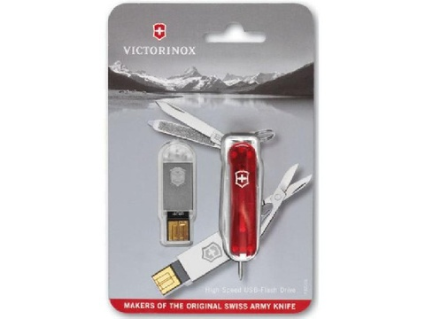 Нож-брелок Victorinox USB 32 Гб, 58 мм, 8 функций, полупрозрачный красный