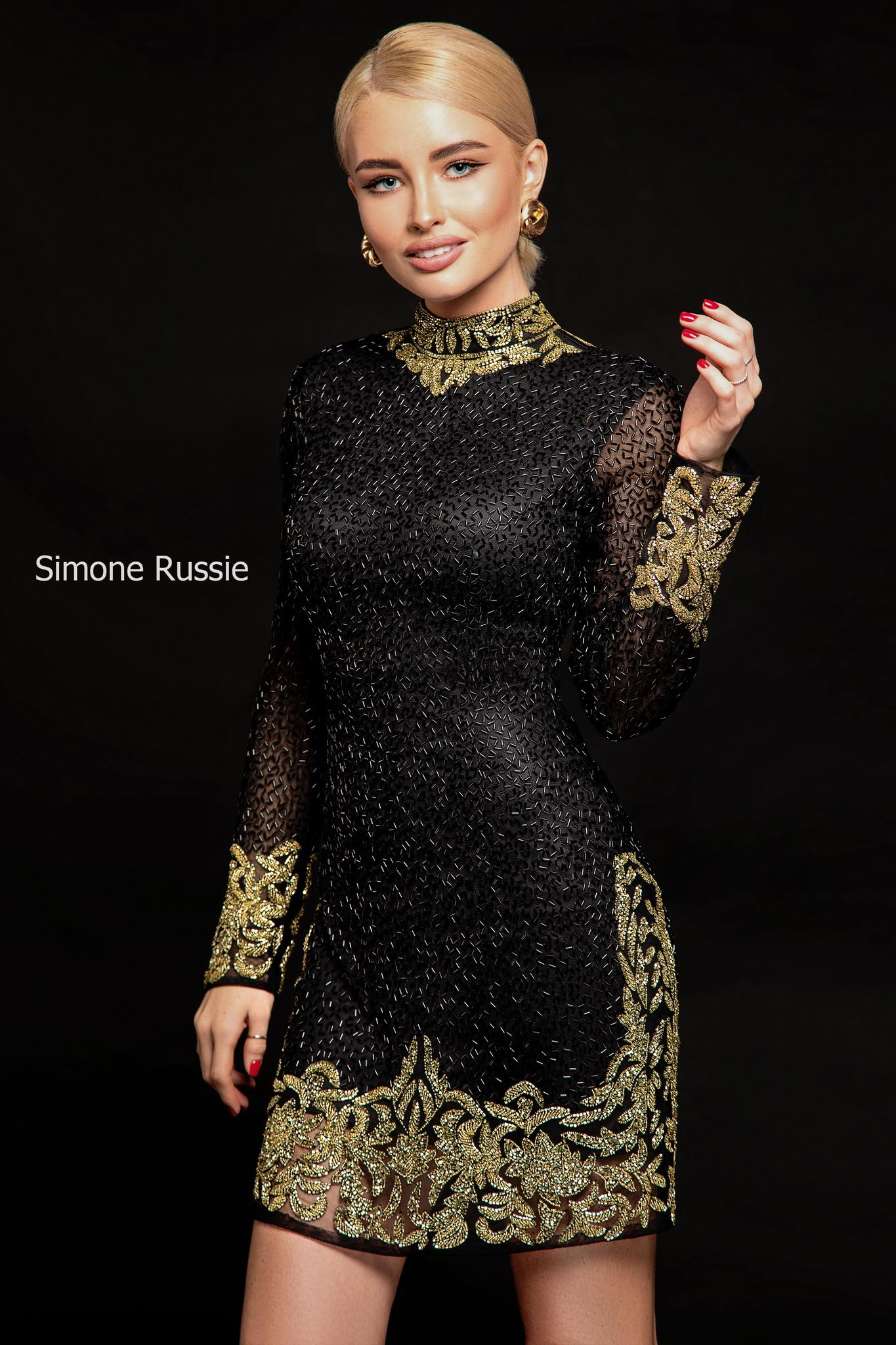 Simone Russie SR1945 Короткое силуэтное платье расшитое черным и золотым бисером