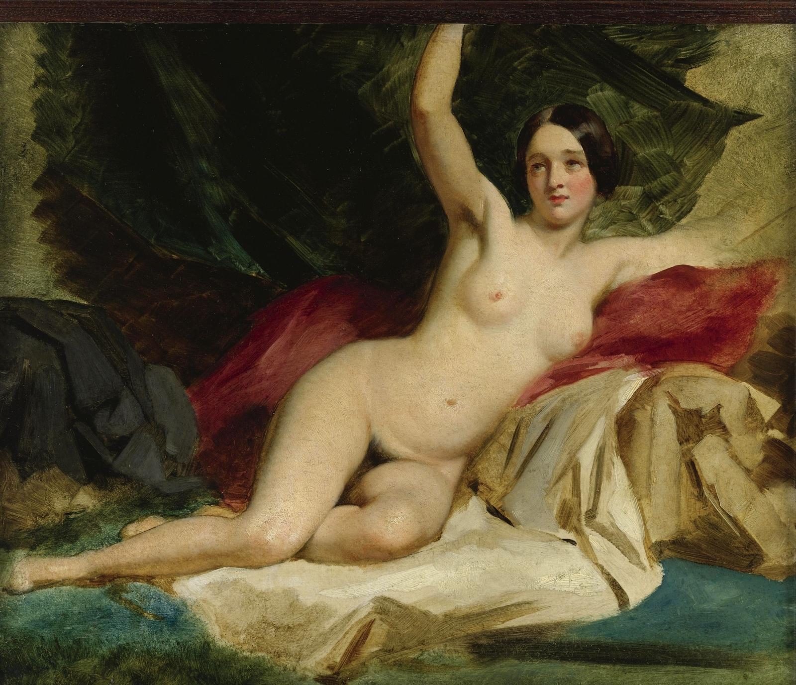 Уильям Этти. Лежащая обнаженная (Reclining Female Nude). 44.8 х 53.3. Бумага на оргалите, масло. Частное собрание.