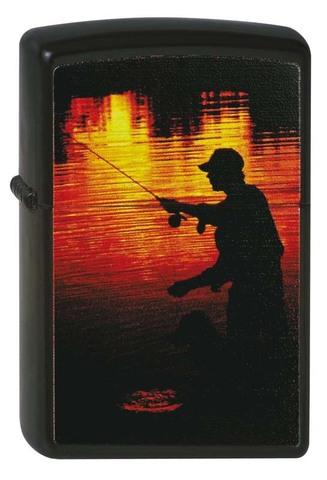 Зажигалка ZIPPO Classic Black Matte™ с изображением рыбака ZP-218 FISHERMAN