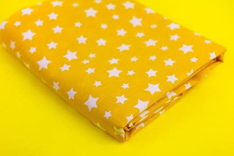 Тканина бавовна, Let's make відріз 15x40 см. Малюнок - білі зірочки на жовтому 312159676