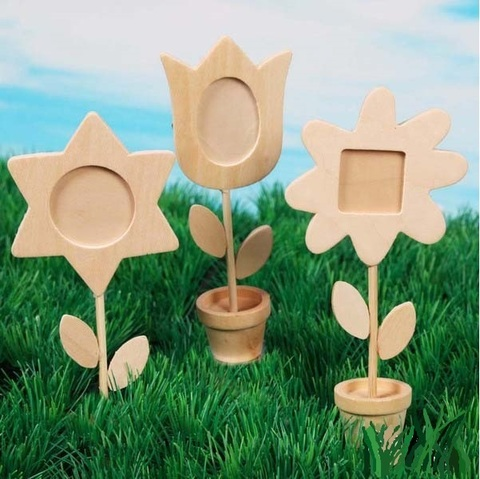 Unfinished Wood Flower Photo Holders