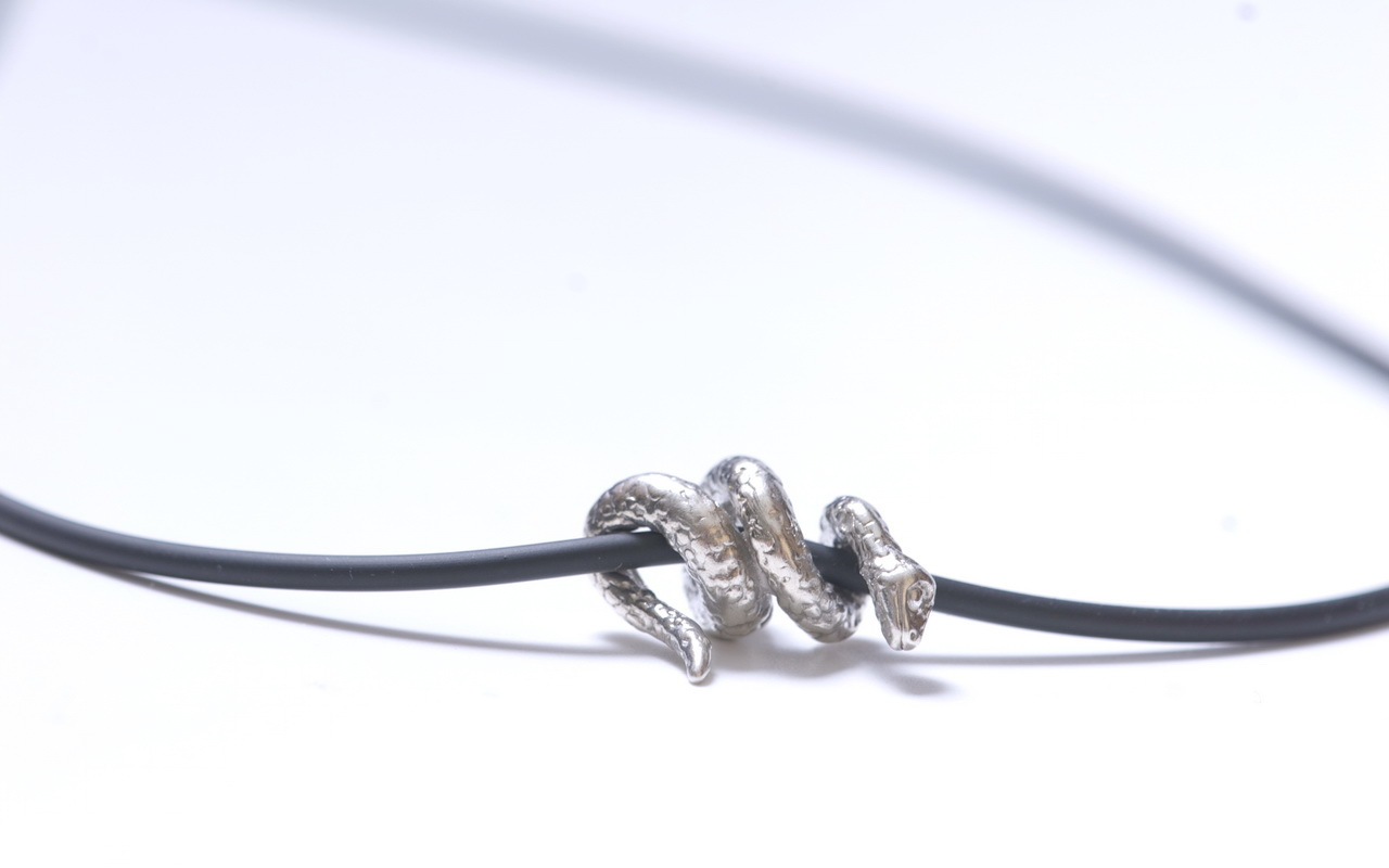 Twisted Snake pendant, sterling silver