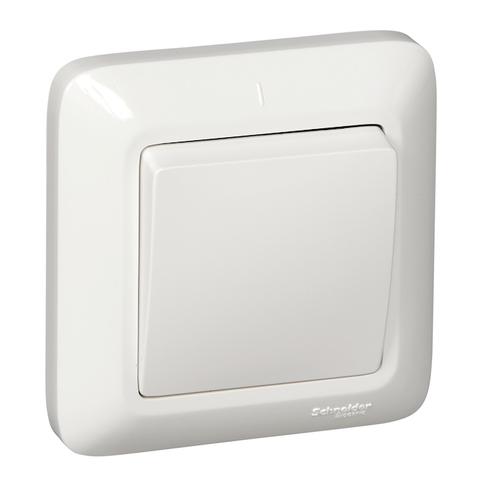 Выключатель одноклавишный 6 А 250 В в розничной упак. Цвет Белый. Schneider Electric(Шнайдер электрик). Prima(Прима). S16-057-BI