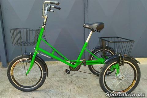 Трехколесный велосипед 'Городской с корзинкой 20' с передней корзинкой (зеленый)
