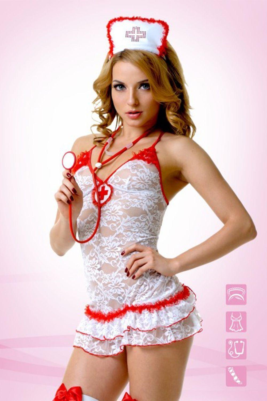 Костюм медсестры включает в себя платье, перчатки и трусы-стринги, которые выполнены из полиамида с добавлением эластана фото