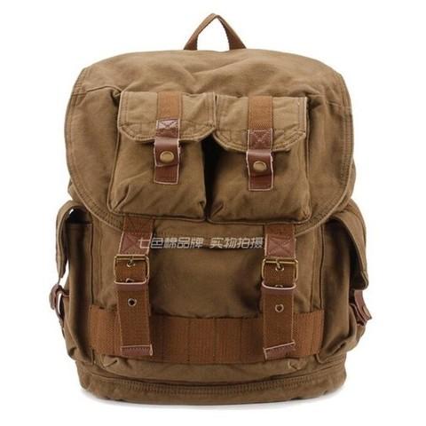 Винтажный рюкзак из парусины S.C.Cotton 1076 ArmyGreen