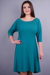Лейла. Женское стильное платье больших размеров. Бирюза.