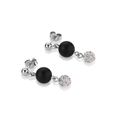 Серьги Coeur de Lion 4845/21-1523 цвет чёрный, серебряный, серый