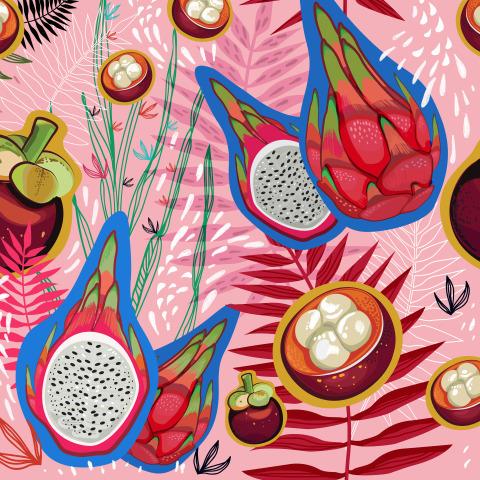 Экзотические фрукты на розовом. Таиланд