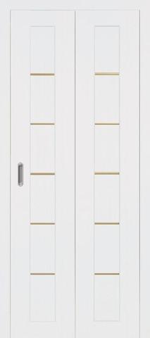 > Экошпон складная Optima Porte Турин 501АПП молдинг SG  (2 полотна), цвет белый монохром, глухая