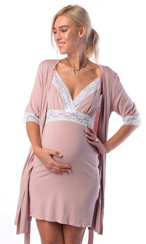 Евромама. Комплект халат и сорочка с кружевом из вискозы, сухая роза