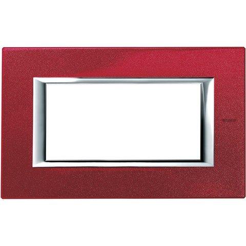 Рамка 1 пост, прямоугольная форма. ЛАКИРОВАННЫЕ. Цвет Рубин. Итальянский стандарт, 4 модуля. Bticino AXOLUTE. HA4804RC