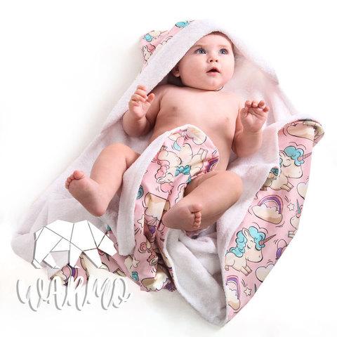 рушник для новонароджених з рожевими єдинорогами фото