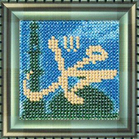 Тема: Религия¶Техника: Вышивание бисером¶Размер: 6,5х6,5см (в рамке 9х9 см)¶Основа: Ткань (хлопко-ль