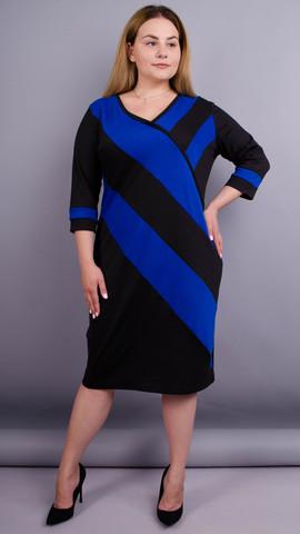 Карамель. Платья больших размеров. Электрик+Черный.