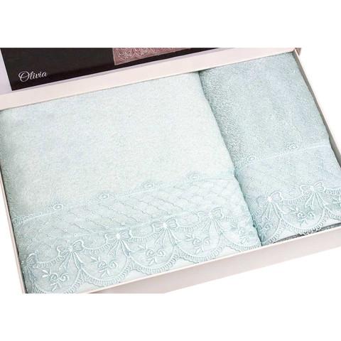 Набор полотенец  Olivia (бирюзовый) 2 пр. 50Х100 и  75Х150   TIVOLYO HOME Турция