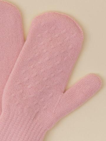 Женские варежки светло-розового цвета из 100% кашемира - фото 2