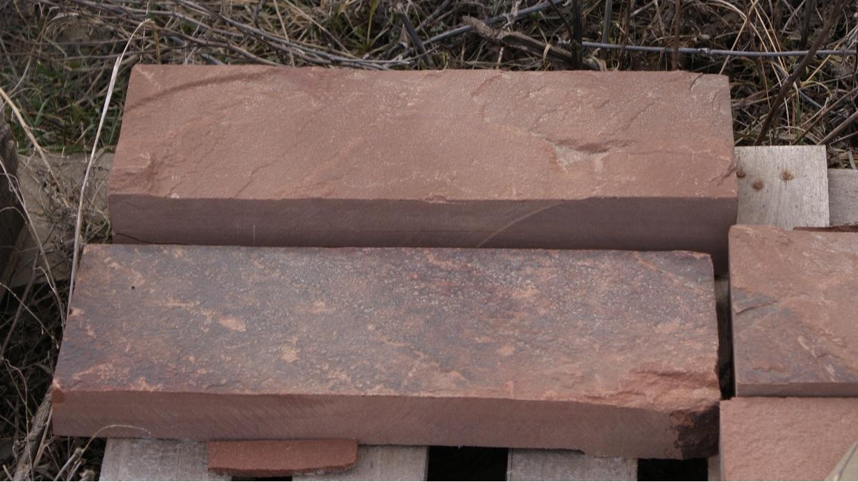 Брусчатка песчаник пиленный Терракот (красный) образец