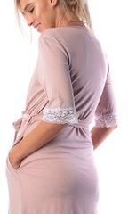 Евромама. Комплект халат и сорочка с кружевом из вискозы, сухая роза 7