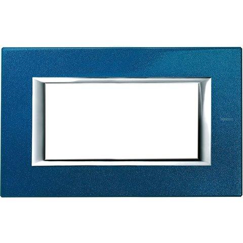 Рамка 1 пост, прямоугольная форма. ЛАКИРОВАННЫЕ. Цвет Сапфир. Итальянский стандарт, 4 модуля. Bticino AXOLUTE. HA4804BM