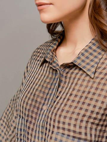 Женская коричневая блузка в клетку Olmar GentryPortofino - фото 2