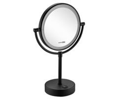 Косметическое зеркало WasserKRAFT NEW K-1005BLACK двухстороннее, с LED-подсветкой, с 3-х кратным увеличением