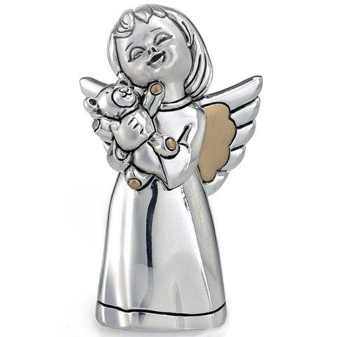 Серебряная фигурка Ангел с мишкой 9см