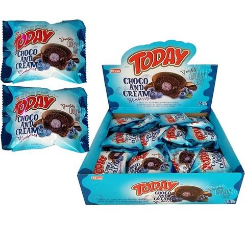 TODAY DOUBLE CHOCO AND CREAM (BLUEBERRY AND CHOCOLATE CREAM) 45GR (24х6) Кекс черника с шоколадным кремом 1кор*6бл*24шт,45гр