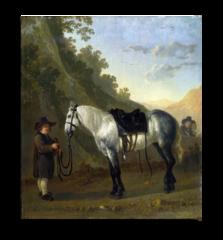 """Репродукция """" Абрахам ван Калр - Мальчик держит серую лошадь """""""