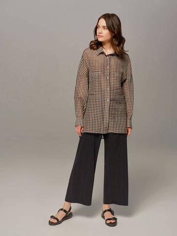 Женская коричневая блузка в клетку Olmar GentryPortofino - фото 4